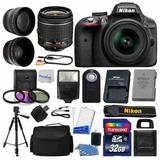 Kit Nikon D3300 Cámara Digital Slr + 3 Lentes:18-55mm +32 Gb