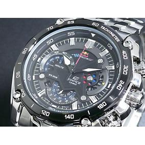 Relógio Casio Edifice Red Bull Ef550 Prata Fundo Preto Promo