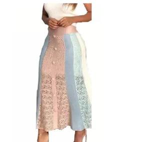 Saia Longa Tricô Tricot Crochê Midi Color