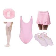 Kit Ballet Completo Collant Rede Meia Calça Sapatilha Saia