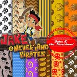 Kit Imprimible Pack Fondos Jake El Pirata 2 Clipart