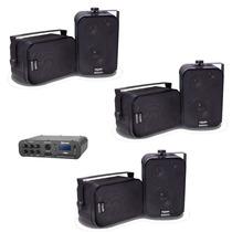Amplificador Estéreo Bluetooth Usb 100w + 3 Pares Caixa Som