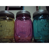 100 Pz.mason Jars Frasco Tapa Y Popote Vintage Varios Color