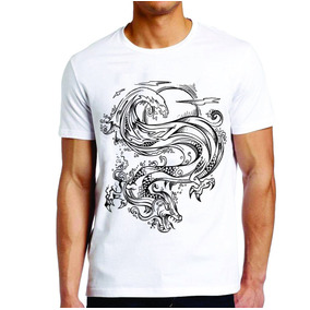 Camiseta Roupas Masculina Dragão Chinês