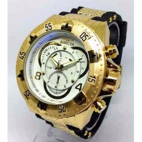 Relógio Masculino Grande Dourado Preto Com Caixa Frete Gráti