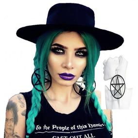 Brinco Pentagrama Estrela Gótico Punk Rock Witch Acrílico