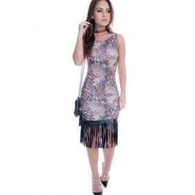 Vestido Feminino Animal Print Com Franja - Kam Bess - Ve1108