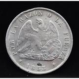 Moneda De Coleccion Peso Chileno 1853 Plata Maciza