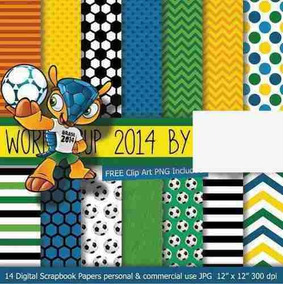 Kit Digital Papel Scrapbook Copa Do Mundo Fuleco +2brindes