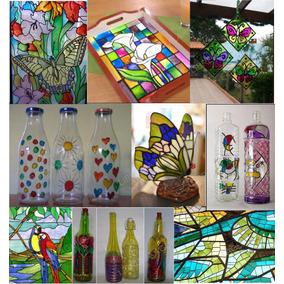 Kit De Pintura Sobre Vidrio Ad Tipo Vitro Frascos Botellas