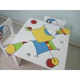 Mesa Y Sillitas Infantiles Pintadas A Mano Para Nenes