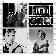 Kit 4 Quadros Para Sala Cinema Audrey Marilyn 60x60cm R2