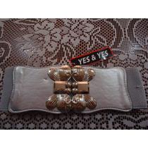 Cinturon Ajustable Gris C Hebilla D Mariposas Plateadas Dama