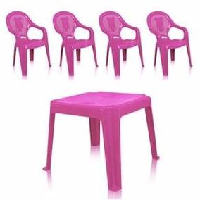 Mesa (mesinha) Infantil + 2 Cadeiras Rosa - Imperdível!