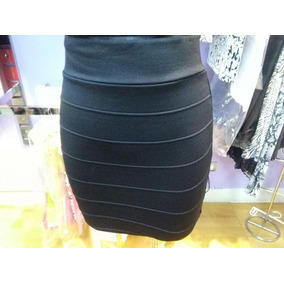 Hermosa Falda....mini....falda Negra De Tela Strech Labrada