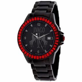 Reloj Jivago Folie Acero Negro Rojo Mineral Mujer Msi Jv4216