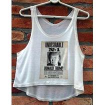 Camiseta Donald Trump Usa Feminina Cropped Blusa Regata