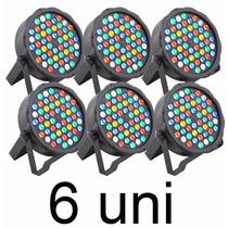 6 Canhão Refletor Par 64 Rgbwa 54 Leds 3w Slim Frete Grátis