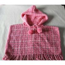 Poncho De Lana Tejido Al Crochet Para Beba