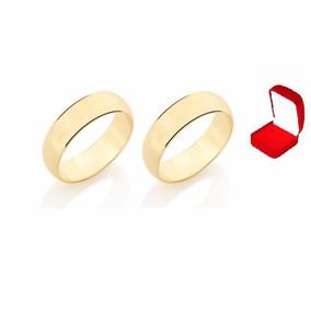 Rommanel Aliança Par Casamento Lisa Meia Cana Larga 510892
