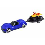 Carro De Brinquedo Com Fricção C/carreta Quadriciclo Bstoys