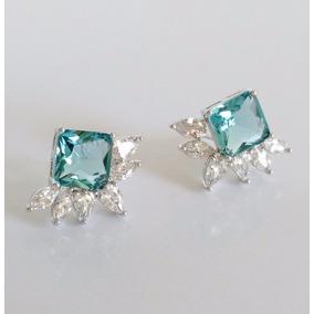 Par Brincos Feminino Pedra Topázio Azul Natural Semi Joia