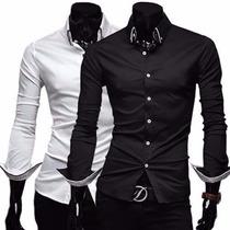 Camisas Sociais Manga Comprida Slim Fit Camiseta Camisa