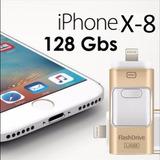 Usb Para Iphone X-8-7-6 Ipad Androi Pc 128 Gb Memoria 3 En 1