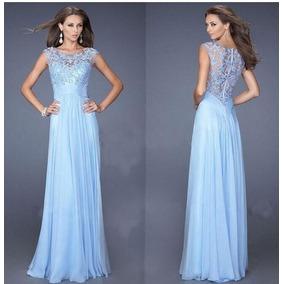 Vestidos fiesta azul cielo