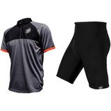 Conjunto Ciclismo Masculino Roupa Camisa Bermuda Asw 2018