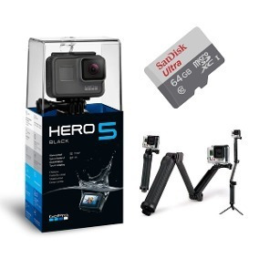 Gopro Hero 5 Black Camera Go Pro 4k +cartao 64gb+bastao 3way