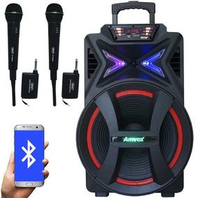 Caixa Som Amplificada Bluetooth 500w + 2 Microfone Sem Fio