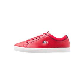 Tenis Lacoste Straightset Sp Rojos De Piel Originales 100%