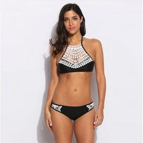 Bikini Mujer Halter Traje De Baño Con Escote Bordado Blanco
