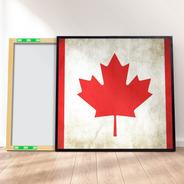 Quadro Canvas Premium 40x40 - Bandeira Grounge Canadá