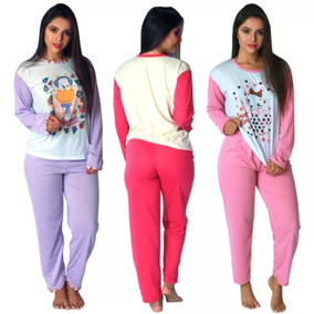Kit 3 Pijama Longo Feminino Inverno Malha Manga Comprida