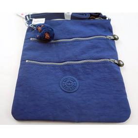 Bolsa Lado Kipling Original Keiko Azul Com Chaveiro Macaco