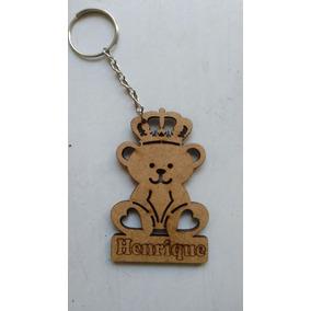Chaveiro Personalizado Urso Coroa Com Nome Mdf Cru