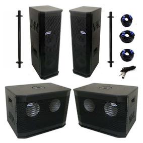 Kit Sonorização Pa Compacto Ativo Amplifica 4 Caixas 1200rms