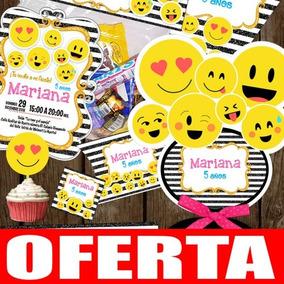 Kit Imprimible Emojis Fiesta Invitaciones Etiquetas