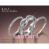 Avon Anillo Triple Play Mediano Baño De Plata 900 - Gabydith