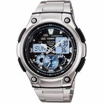 Relógio Casio Ana-digi Aq-190wd-1avdf - Hora Mundi 5 Alarmes