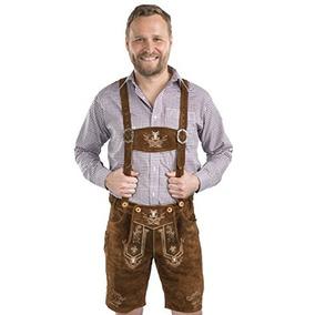 Hombres Alpenjäger Oktoberfest German Lederhosen Cuero Pant