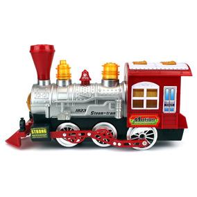 Máquina Vapor Tren Locomotora Eléctrica Luz Sonido Burbujas