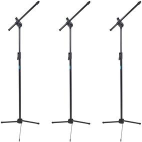 Pedestal Suporte P Microfone Ask Tps Estante Girafa Kit 3 Pç