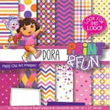 Kit Imprimible Fondos Dora Exploradora Papel Digital Clipart