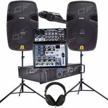 Combo De Sonido Dj Mixer Consola Potencia Bafles Mic Pie Aur