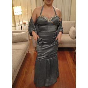 Vestido Longo Festa Luxo Estilo Sereia Com Strass + Echarpe