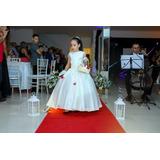 Vestido De Dama 5-6 Anos Lindo Laço De Perolas Atrás Luxo