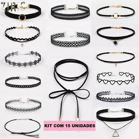 Kit C/15 Choker Colar Kim Kardashian Gargantilha + Brinde